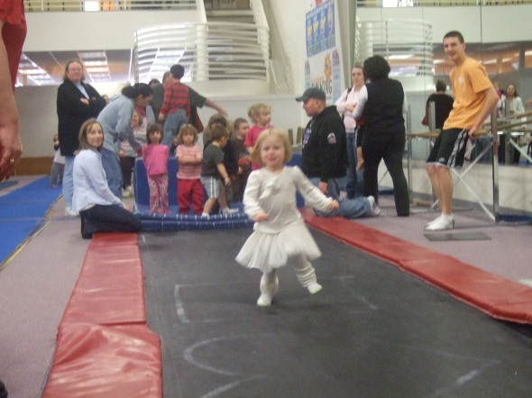Running down the trampoline runway