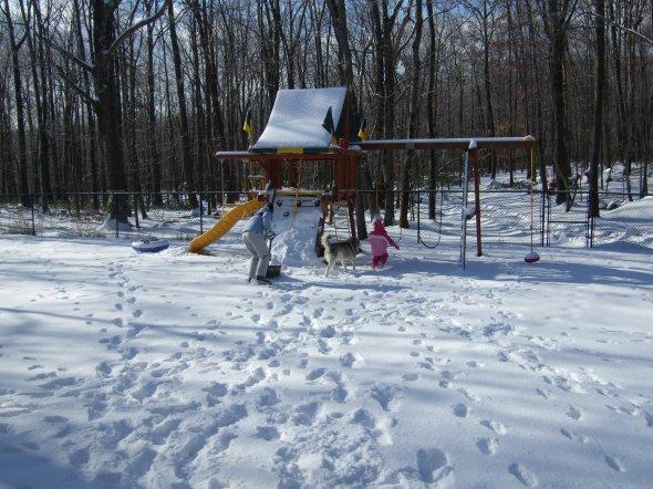 Building their own ski slope.