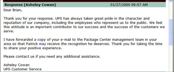 UPS driver compliment,