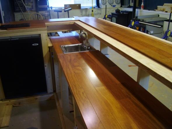 behind the bar, & drink rail
