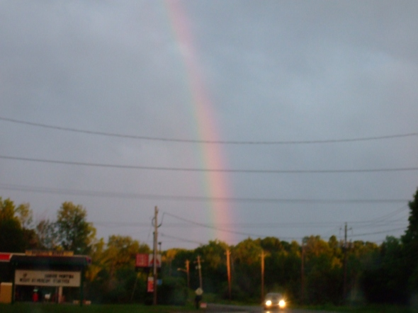 Pot of gold at the end of the rainbow? Nope. Just a drive-in.