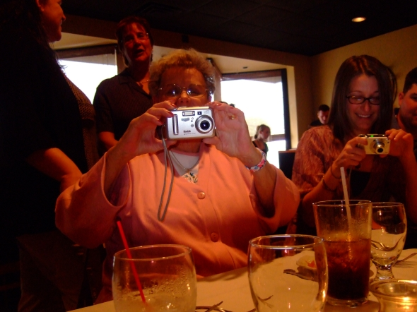Nana in her favorite spot-behind a camera.