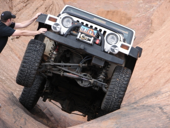 Jeep in canyon