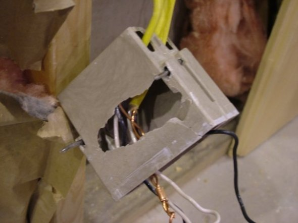 What happens when crowbar meets plastic outlet box.
