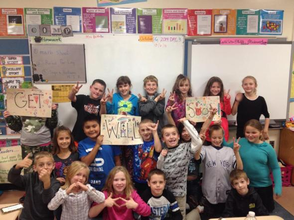 Her class sent her a get well pic!